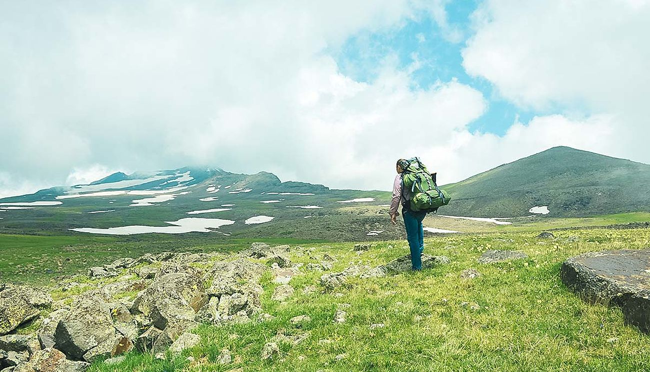 Wanderer am Aragats in Armenien